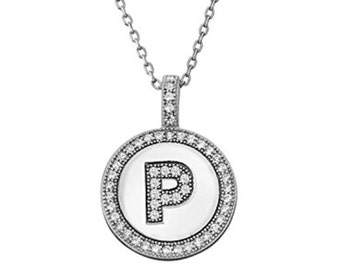 Initial Letter P Micro Pave CZ Pendant .925 Sterling Silver