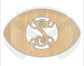 Unfinished Wood Football Door Hanger Laser Cutout w/ Your Initial, Home Decor, Various Sizes, Script, Ready to Paint