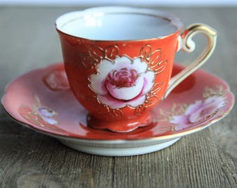 Vintage Hand Painted Demitasse Cup & Saucer ~ Orange w/ Pink Flower Rose Gold Trim ~ Espresso Turkish Coffee Tea Cup ~ Gift Ideas for Her