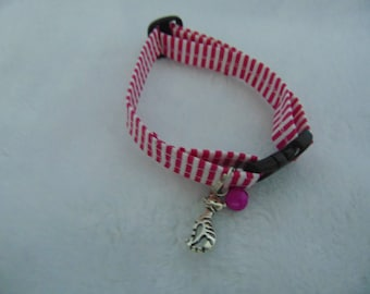 Pink and white candy stripe cat collar