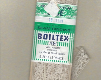Vintage Lace Seam Binding by Boiltex , Color - Ecru No. 16 , Vintage Notion  Stretchable Lace Trim ,  For Knits and Woven Fabrics