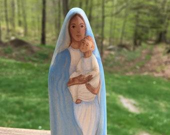 Mary Holding Jesus  - Wood Figure