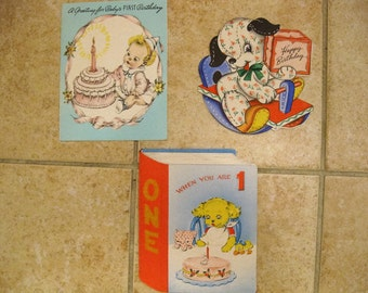 Vintage 3 pc lot Children Birthday Greeting Cards 1940s Used from Jeff SALE