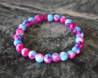 Mixed Berry Marble Bracelet - Multicolor, Beaded, Elastic, Marbled, Bracelet, Blue and Pink, Summer, Mother's Day, Gift, Fashion, Accessory