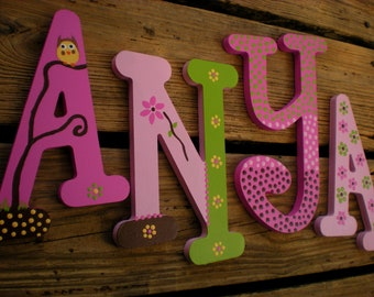 Nursery Letters - Baby Name Letters - Whimsical Font - Owl and Polka Dots