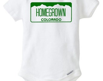 Colorado Homegrown onesie - baby - baby bodysuit - state - license plate - colorado - baby clothing - toddler clothing - colorado
