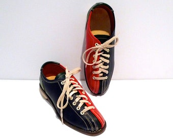 Bowling Shoes Vintage Red Blue and Green Color Block Flats Leather Rockabilly Size Womens 7 Bowling Pin Logo on Heel Sole