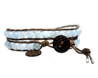 Wrap Bracelet Blue Jeans B6 – aquamarine, leather and Sterling Silver 620