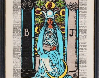The High Priestess Tarot, Major Arcana Tarot Card Print, Vintage Illustration, Instant Download Printable, Dictionary Wall Art