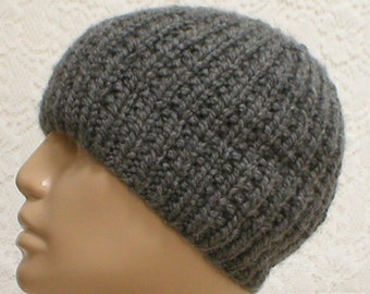 Gray beanie hat, skull cap, ribbed beanie hat, gray hat, winter hat, toque, mens womens knit hat, charcoal gray hat, chemo cap, hiking hat