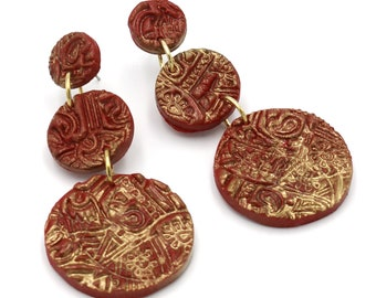 Red & Sprayed Gold Triple Drop Polymer Clay Earring