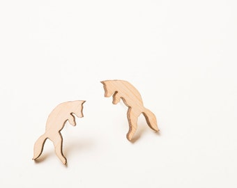 Fox Earrings, Fox Jewelry, Pouncing Fox Woodland Earrings with Surgical Stainless Steel Posts