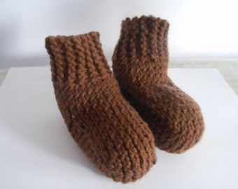 Knitted Brown Baby Booties 3-6 months