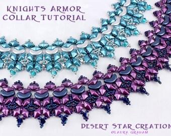Knights Armor Collar Necklace Tutorial, Two Hole Czech Beadweaving Pattern, Arcos Par Puca, DiamonDuo Bead, PDF Instructions