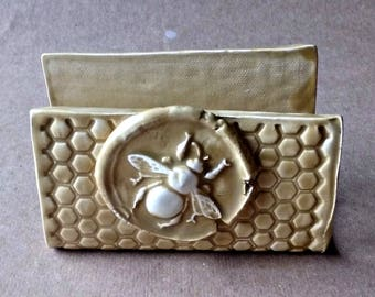 Ceramic Sponge Holder Business Card Holder Mustard yellow Bee