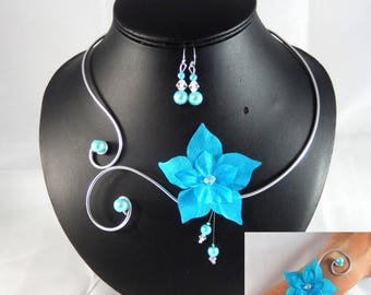Eline - Set turquoise flower - customizable