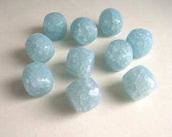 6 blue glacier 15x14mm cracked resin beads