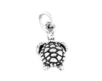 Sterling Silver Turtle Charm (One Sided Charm)