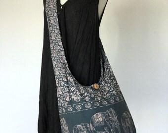 Elephant Bag Hippie Hobo Bag Sling Crossbody Bag Boho Bag Shoulder Bag Messenger Bag Cotton Bag Purse Tote Bag Handbags, Slate Gray