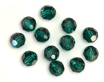 Swarovski Crystal Round Emerald Beads 5000- Available in 4mm, 8mm