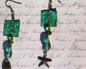 Sea Teal Beach Earrings, Green Starfish Earrings