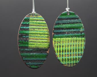 Enamel earrings vitreous enamel jewelry dangle earrings drop fired on copper silver