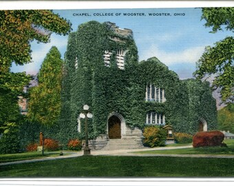 College of Wooster Chapel Wooster Ohio 1950 linen postcard