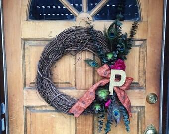 Custom, in between season, initial wreath.