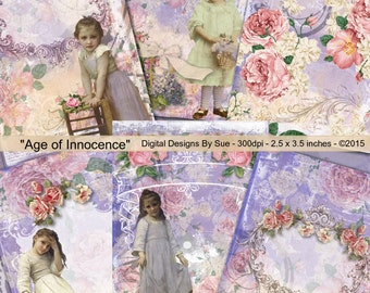 Instant Download  - Age Of Innocence   - ACEO - Digital Download - Printable  Digital Collage Sheet