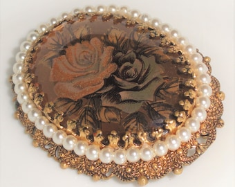Signed Made W GERMANY Filigree ROSE ROSES Cabochon Simulated Pearls Vintage Brooch