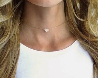 Heart Choker Necklace - Dainty Choker - Personalized Necklace - Simple Gold Choker