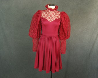vintage 70s Balloon Sleeve Dress - 1970s Red Victorian Style Lace Top Dress Leg of Mutton Sleeve Sz S