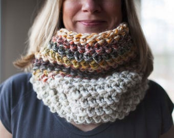 Crocheted cowl neckwarmer // featured in the colors Wheat and Coney Island