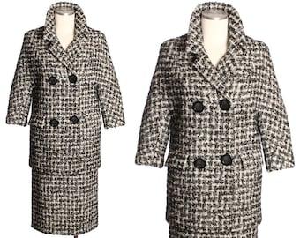 vintage 1950s houndstooth coat & skirt set • boucle wool suit