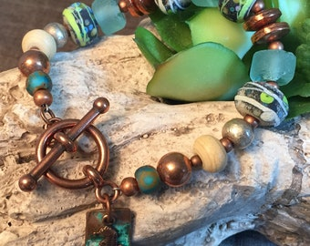 AEGEAN SEA, artisan lampwork and sterling silver bracelet