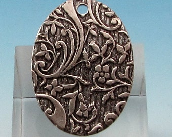 Floral Embossed Oval Drop, Silver Ox, 2 pieces, AS362