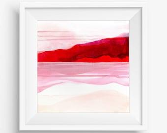 Digital Print, Abstract Printable Art, Abstract Art Print, Square Abstract Print, Pink Red White Abstract Landscape - Meditation on Love 2