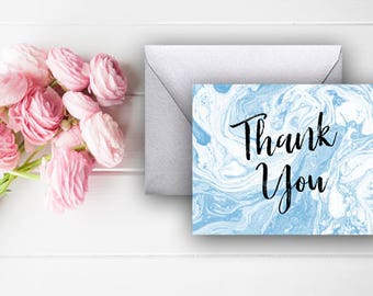 Blue Marble Thank You Cards, Marble Thank You Notes, Baby Shower Thank You, Digital Download, Printable Cards, 803