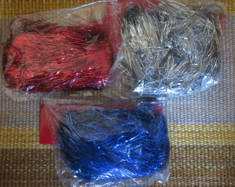 Fine Tinsel shred,ass't colors,0.3MM,20 gm (appx 0.75 oz) bags,ornament filler,gift/raffle basket filler,Christmas