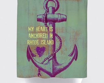 Shower Curtain and More - Rhode Island Heart in Rhode Island Anchor | See Dropdown for Pricing and Matching Decor Options