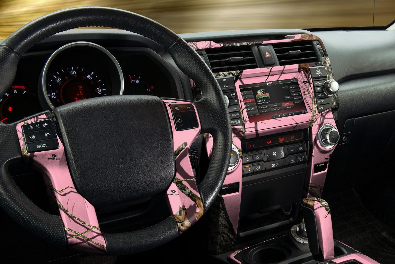 auto interior skin camo dash kit in mossy oak break up pink
