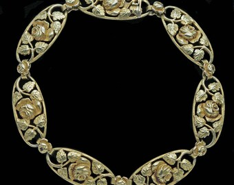 Antique Art Nouveau Bracelet 18k Gold Roses Foliage French (#6320)