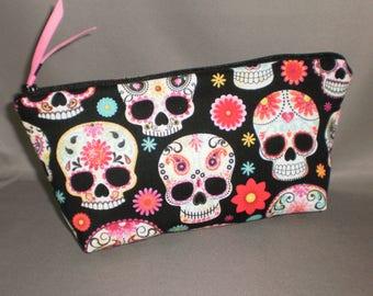 Day of the Dead - Cosmetic Bag - Makeup Bag - Large Zipper Pouch - Dia de los Muertos