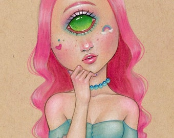 Vermilia the cyclops girl original illustration