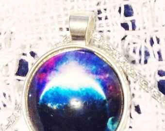 Dark Planet Galaxy Necklace White Jewelry Gift
