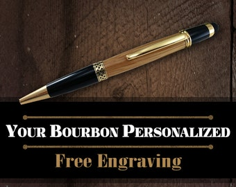 Authentic Jim Beam Oak Bourbon Barrel Stylus Pen - Groomsmen Wedding Favor - FREE Engraving