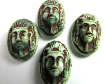 6 Vintage Egyptian Revival-Style Motif Antiqued Green Oval Glass Cabochon Cb118