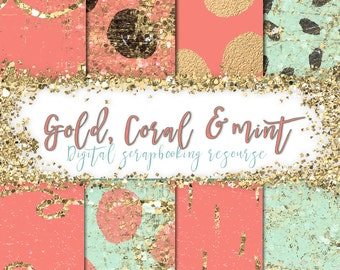 Gold, Coral & Mint - Scarpbooking resource
