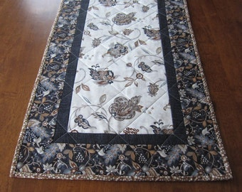Black, Grey and Brown Elegant Floral Table Runner Quiltsy Handmade