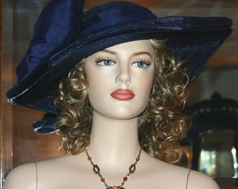 Kentucky Derby Hat Ascot Edwardian Tea Hat Titanic Hat Somewhere in Time Hat Downton Abbey Hat Edwardian Women's Navy Blue Hat - Titanic